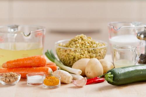 Ingredients for lentil stew