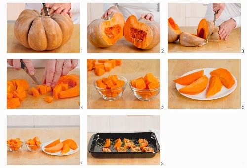 A Muscade de Provence pumpkin being prepared