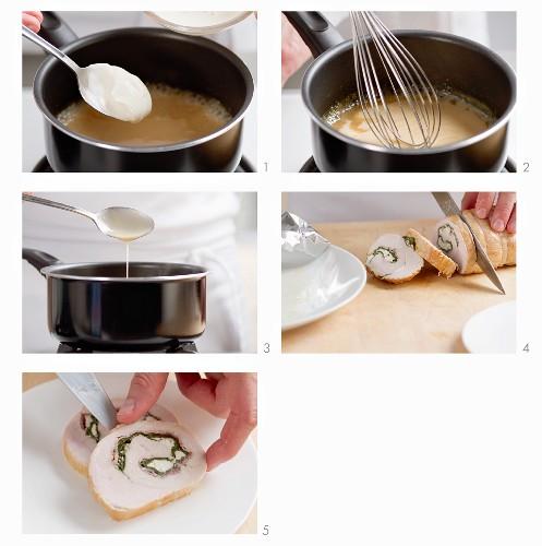 Roast turkey gravy being made