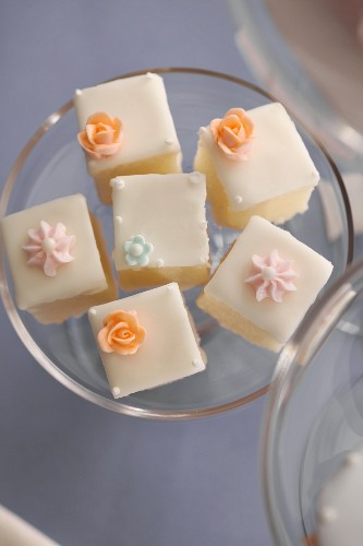 Petit Fours on a Cake Plate