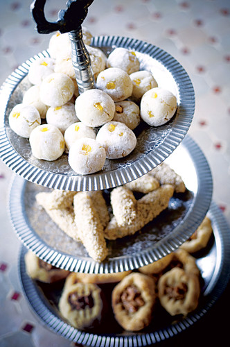 Cinnamon biscuits, almond and sesame seed biscuits and almond and orange balls