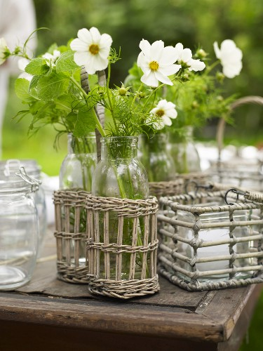 A white jewellery box being used as a table decoration