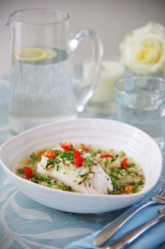 Fish soup with bulgur and poached cod
