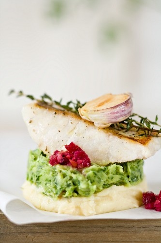 Zander fillet on a bed of parsley and mashed potatoes