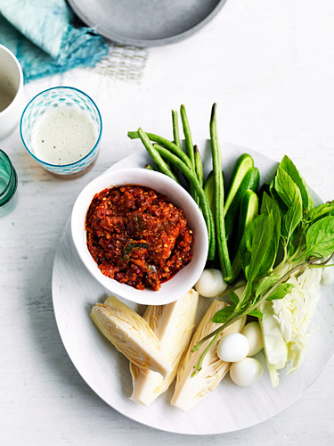 Jaew bong (chilli dip and fermented fish, Isaan kitchen) and vegetables