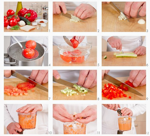Gazpacho being made