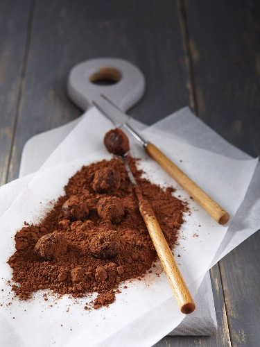 Chocolate truffles dusted with cocoa powder