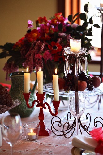 A decorative Christmas table