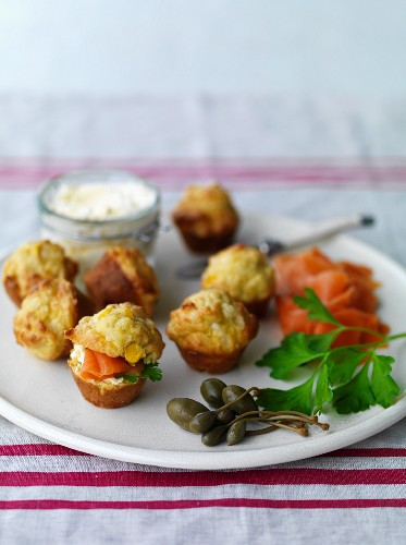 Mini cheese and corn muffins with smoked salmon