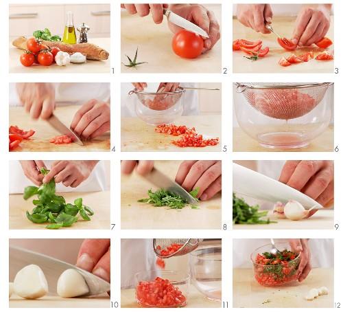 Tomato and basil being prepared for bruschetta