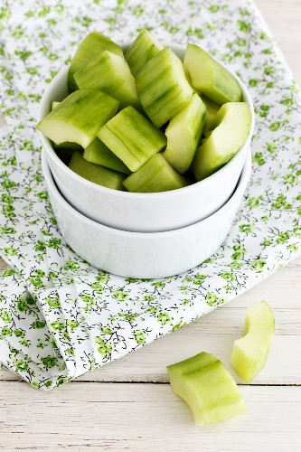A bowl of sliced cucumber