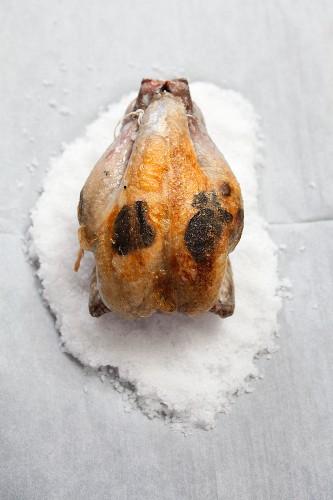 Bresse chicken with truffles stuffed under the skin