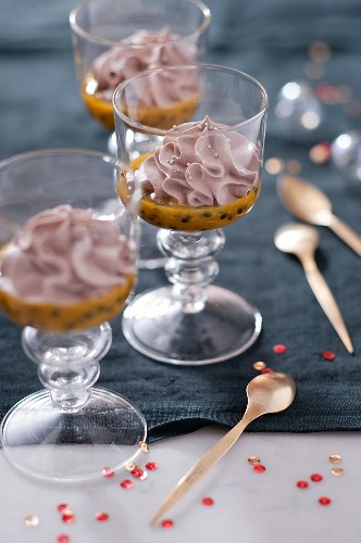 Chocolate mousse with passion fruit coulis