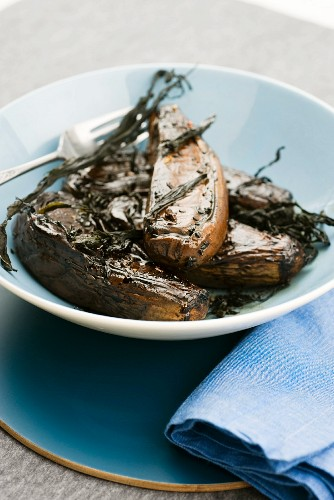 Aubergine confit with seaweed and a soy and balsamic vinegar dressing