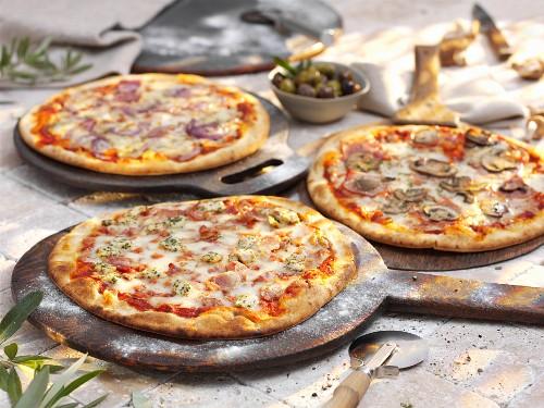 Three different stone oven pizzas