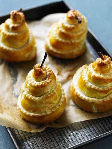 Pears wrapped in pastry