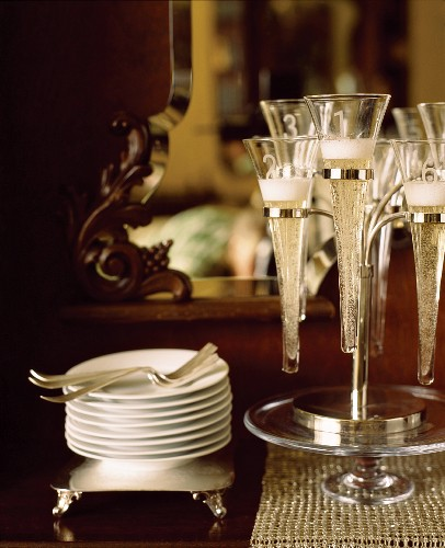 Champagne Flutes in Holder for New Year's Eve Celebration
