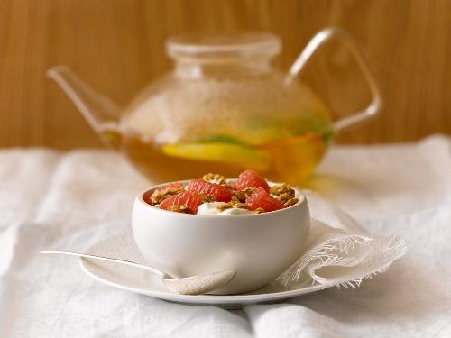 Yogurt Topped with Grapefruit and Granola; Tea Pot