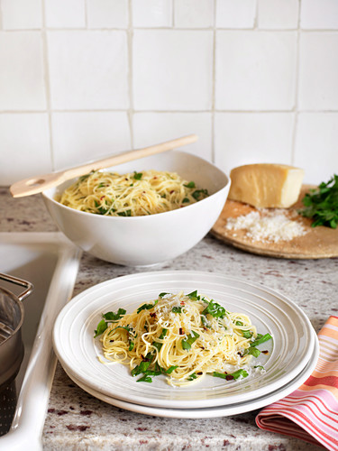 Vermicelli with herbs and parmesan