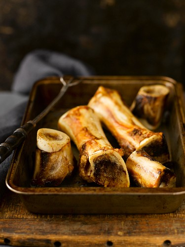 Roasted Beef Bones in a Roasting Pan