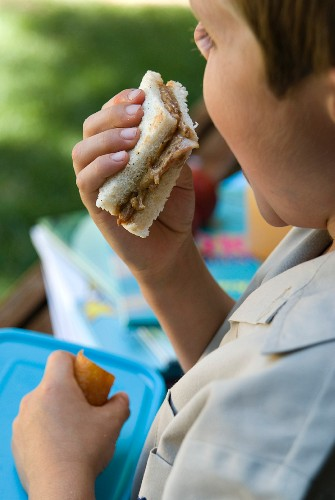 A boy eating a peanut butter and bacon sandwich