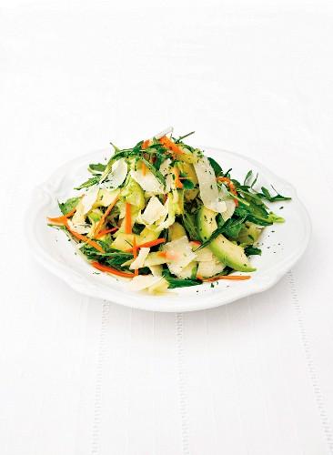 A salad of lettuce, avocado, rocket and Parmesan