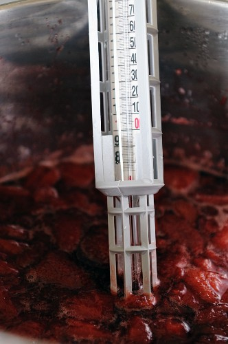 Making strawberry jam 2 – checking setting point with sugar thermometer