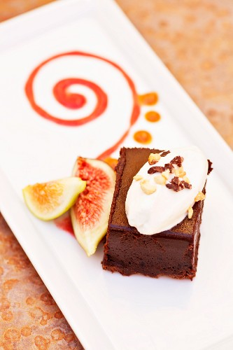 Organic Chocolate Marquis Dessert with Figs