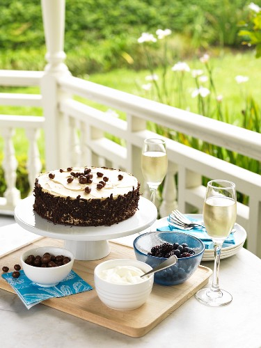 Chocolate-coffee cake in a summerhouse