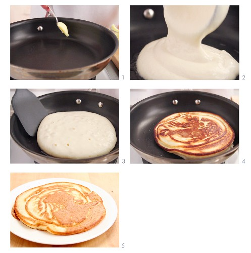 Pancakes being fried