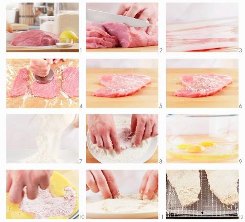 Wiener Schnitzel vorbereiten: Kalbsschnitzel panieren