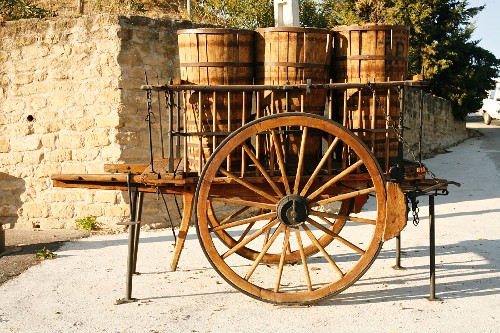 Antique Wooden Cart with Wooden Barrels; Spain