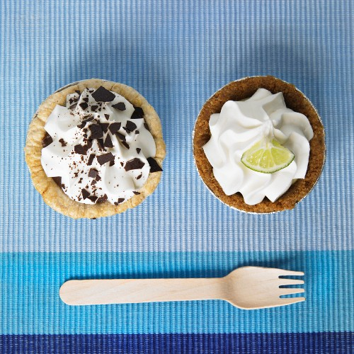 Two Mini Pies; Chocolate Cream and Key Lime; From Above