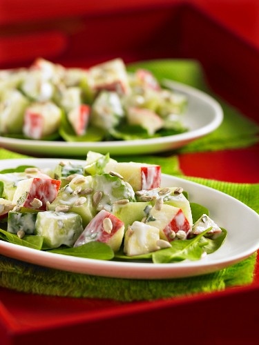 Apple and cucumber salad with sunflower seeds and a yogurt dressing