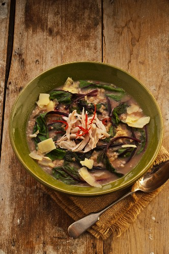 Zuppa d'orzo e pollo (barley soup with chicken and chard)