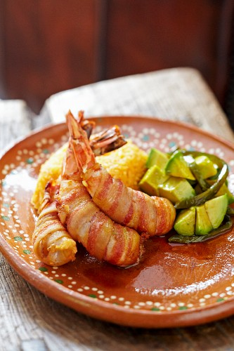 Mexican Entree; Bacon Wrapped Shrimp with Avocado and Yellow Rice