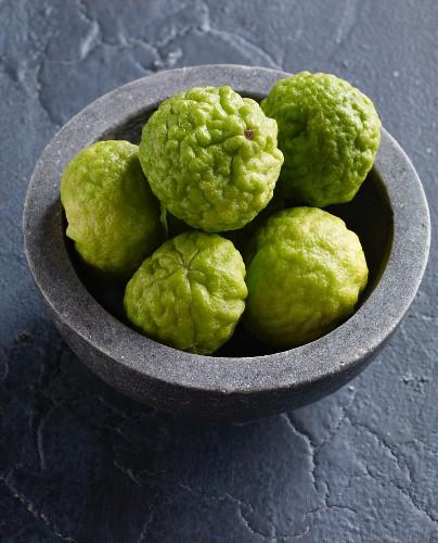 A bowl of kaffir limes