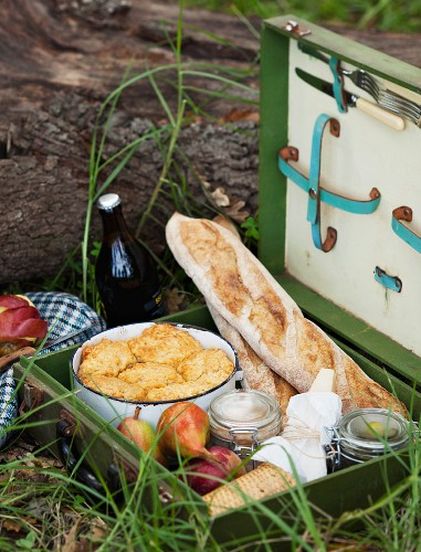 An autumn picnic with bread, spreads and bakes in a picnic hamper
