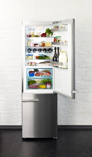 A well-stocked fridge filed with meat, fish and alcoholic drinks