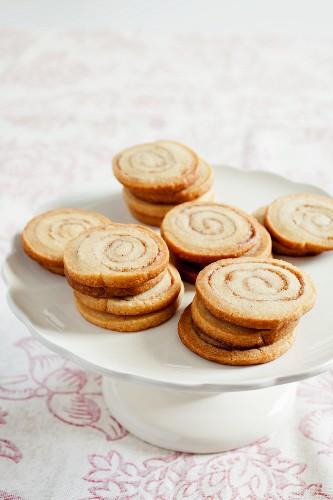 Cinnamon Swirl Cookies on a Pedestal Dish