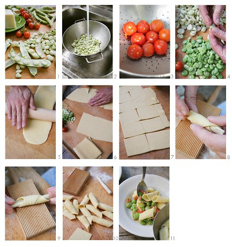 Garganelli with broad beans and tomatoes being made