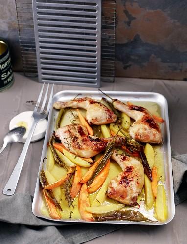 Lemon chicken on a baking tray