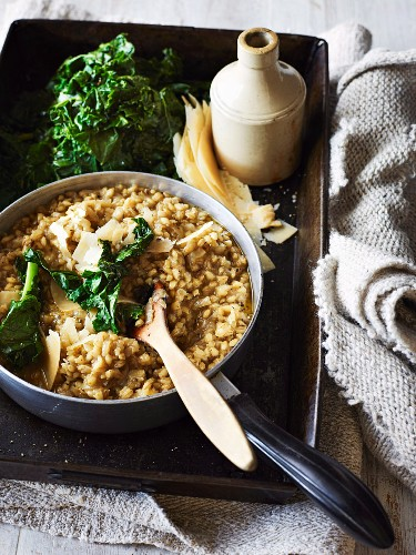 Barley risotto with green cabbage