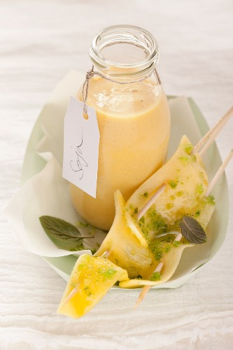 Mango soy milk lassi with pineapple sate and mint sugar