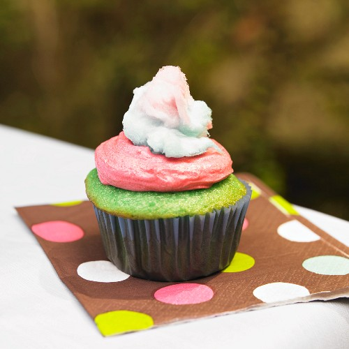 Green Cupcake with Pink Frosting and Cotton Candy