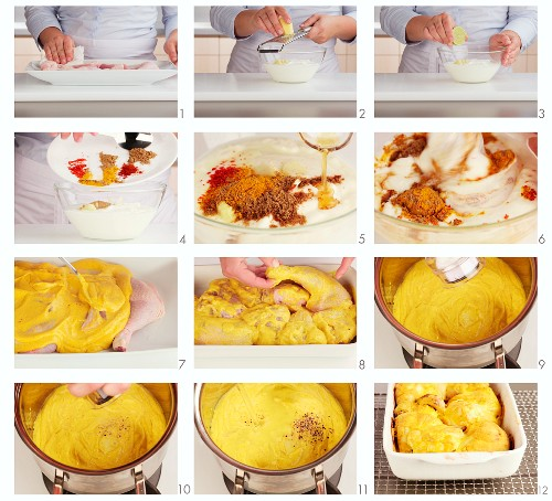 Chicken tikka masala being made