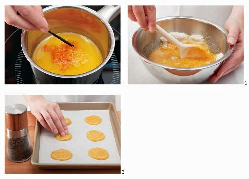 Almond and orange wafers being made