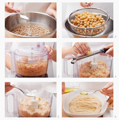 Hummus (oriental chickpea puree) being made