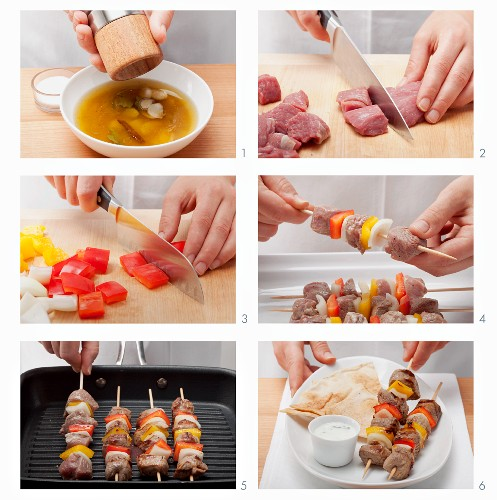 Meat and vegetable kebabs being made