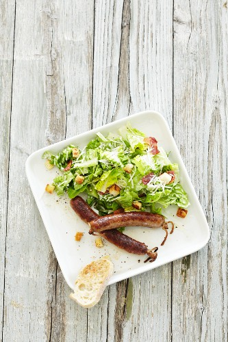 Chorizo with Caesar salad (view from above)